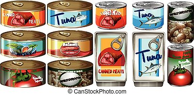 Different food in aluminum cans