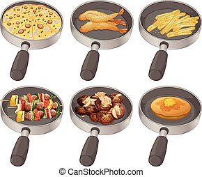 Different food in the frying pan