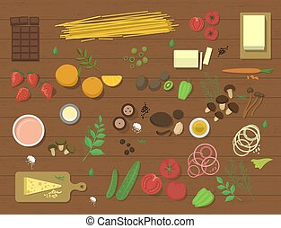 Different food ingredient pasta bolognese and spaghetti lunch dinner tomato salad collage vector illustration