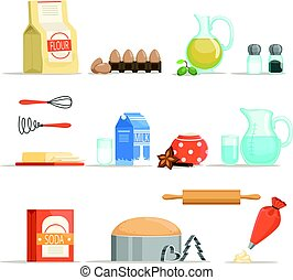 Different food ingredients for baking and cooking. Vector illustration in cartoon style