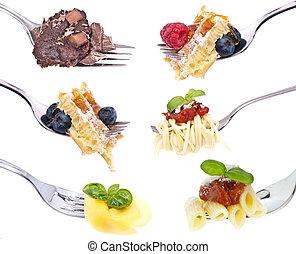 Different food on Forks