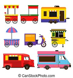 Different food trucks set. Vector illustration