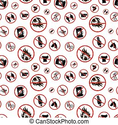 Different forbidden signs on white, seamless pattern