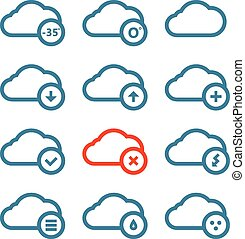 Different forecast icons set with rounded corners. Design elemen