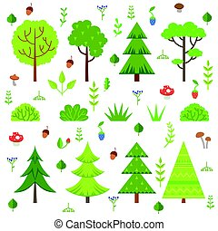 Different forest plants, trees mushrooms and other floral elements. Cartoon vector illustration isolate on white