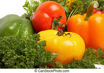 Different fresh tasty vegetables with droplets of water isolated on white background XXL