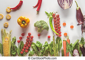 different fresh vegetables