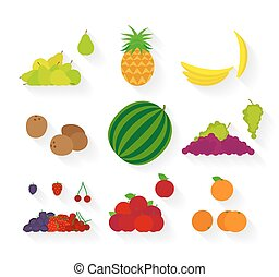 Different fruit flat icons