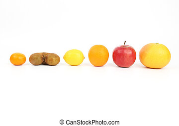 different fruit on a white background