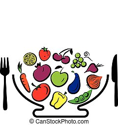 Different  fruits and vegetables combined in bowl with fork and knife