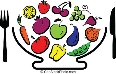 Different fruits and vegetables combined in bowl with fork and knife, vector illustration