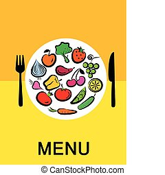 Different  fruits and vegetables combined in round frame -1