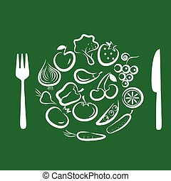 Different types of delicious fruits and vegetables combined in round frame on green background