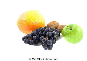 different fruits on a white background