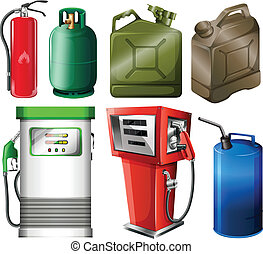 Different fuel containers - Illustration of the different...