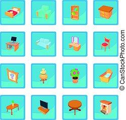 Different furniture icon blue app