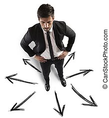 Different future opportunities - Businessman with different...