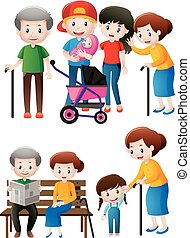 Different generations of family members illustration