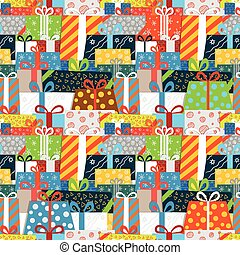 Different gift boxes seamless vector pattern