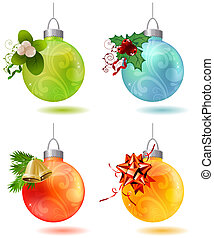 Different glass balls with traditional Christmas  decoration