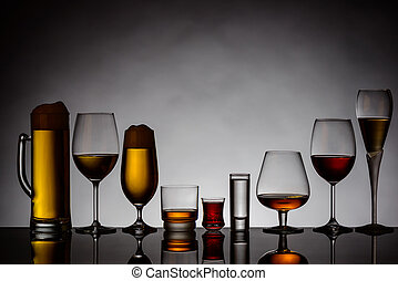 alcoholic drinks - different glasses of alcoholic drinks...