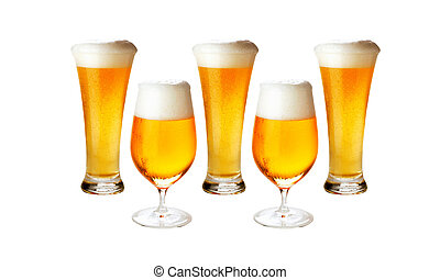 Different glasses of cold lager beer isolated- excellent...