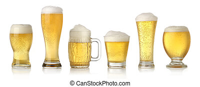 Different glasses of cold lager beer isolated on white