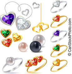 Different gold and silver rings and necklaces with gems