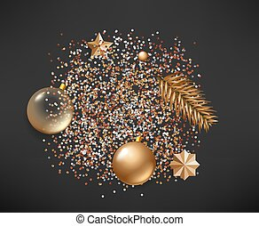 Different golden Christmas elements on black background