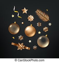 Different golden Christmas elements vector clipart on black background