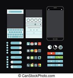 Different graphic elements set. Modern smartphone interface design