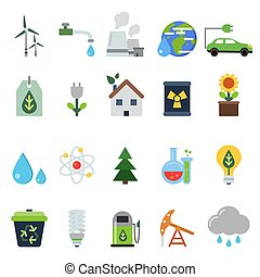 Different green symbols on the ecology theme. Vector icons set in flat style