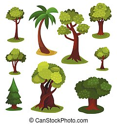 Different green trees set of vector Illustrations