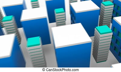 Different growing tall buildings in modern city, 3d rendering background, computer generating