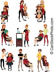 Different hairdressers serving clients set, man and woman in barbershop, hairdressing salon cartoon vector Illustrations