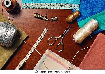 Different handicraft accessories and materials