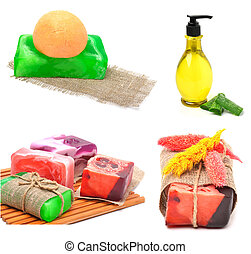Different handmade soaps on the wooden board isolated on...