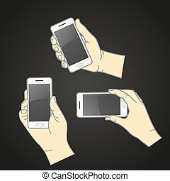 Different hands with modern smartphone vector collection. Flat design