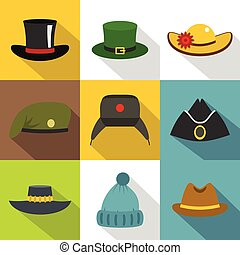 Different headgear icon set, flat style - Different,...