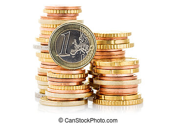 Different height stacks of Euro coins