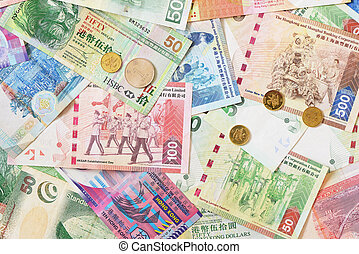 Different Hong Kong money bank notes and coins.