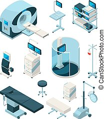 Different hospital equipment. Medical tables and other devices