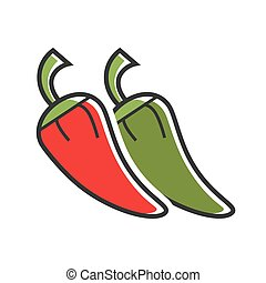 Different hot peppers - Vector illustration of red and green...
