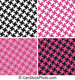 Different Houndstooth_Magenta-Black - An untraditional...