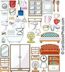 Different household equipments and furnitures illustration