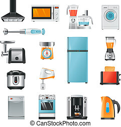 Different household in cartoon style. Electrical equipment for kitchen