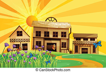 Different houses at the hills - Illustration of the...