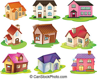 Different houses - Illustration of the different houses on a...