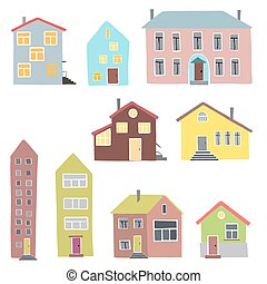 Different houses on a white background