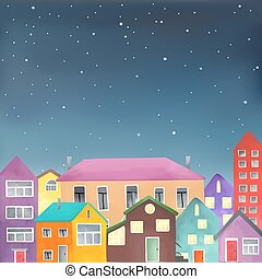 Different houses on the starry sky background